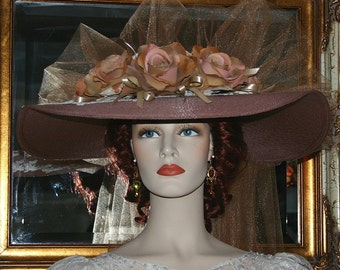 Kentucky Derby Hat Southern Belle Wedding Hat Church Hat Ascot Hat  – Kentucky Sweetheart - Mocha Brown Wide Brim Hat