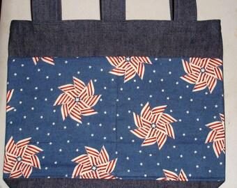 New Handmade Denim Walker Bag Patriotic Pinwheels Flag Theme
