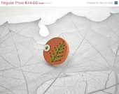 ON SALE Wood Green Leaf Button Ring: Conifer Seedpod Ring