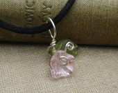 Little Pink Glass Flower Pendant Necklace - Czech Glass Beads - Sterling Silver Wire Wrapped Flower Jewelry - Girls, Women, Children