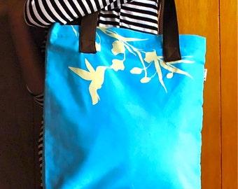 SALE Aqua Blue Hummingbird with Eucalyptus Shoulder Tote Bag