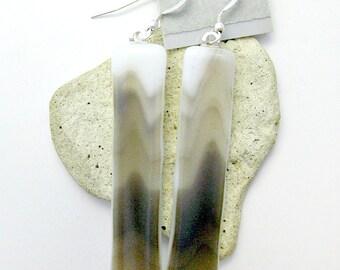 Mocha Dangle Brown Tan and White Fused Glass Earrings