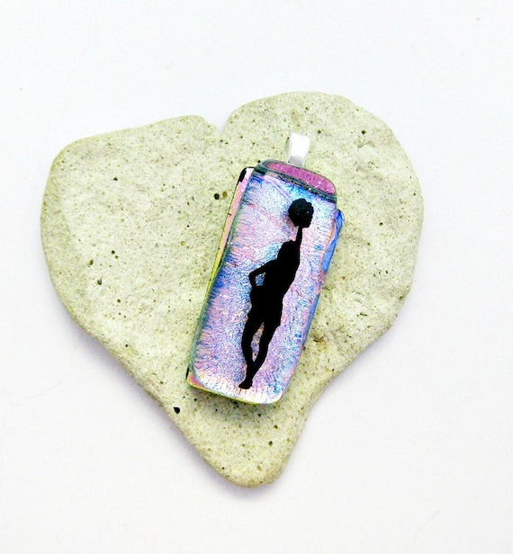 Fused Dichroic Glass Pendant - Pink to Blue Cheer Leader Pendant