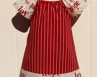 Peace and Joy in Red Peasant Dress Size 12 Months