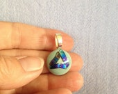 Recovery Pendant Green and Blue Fused Glass