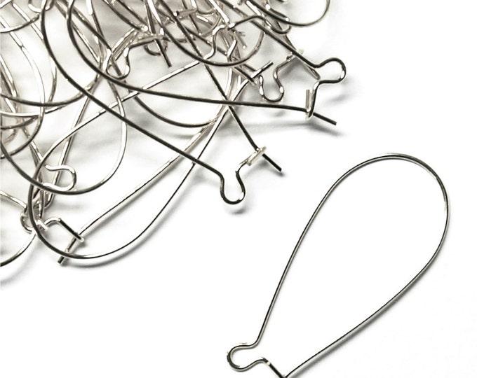 EWBSP-kd35 - Earwire, Kidney Large, Silver - 10 Pieces (1pk)