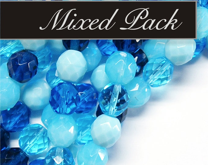 CZFP-MXAB - Czech Firepolished Faceted Rounds, Aqua Blue Mix - 10 Pieces
