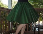 Green Circle Skirt Custom Made Any Size Womens Skirt Many Colors Cotton Emerald Full Skirt