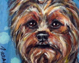Whimsical Yorkie portrait Yorkshire Terrier original dog painting 8 x 10