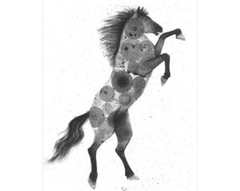 Wild Horse original ink bubble painting and charcoal drawing