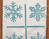 SUPER SALE block print grid snowflake towel hand printed