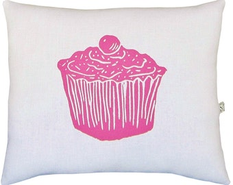 block print cupcake squillow accent pillow