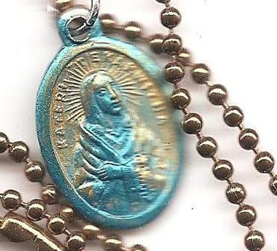 Near Sighted, Hikers and Turtle Lovers. Blessed Kateri Tekakwitha, Native American Patron Saint Medal on Antique Copper Colored Ball Chain