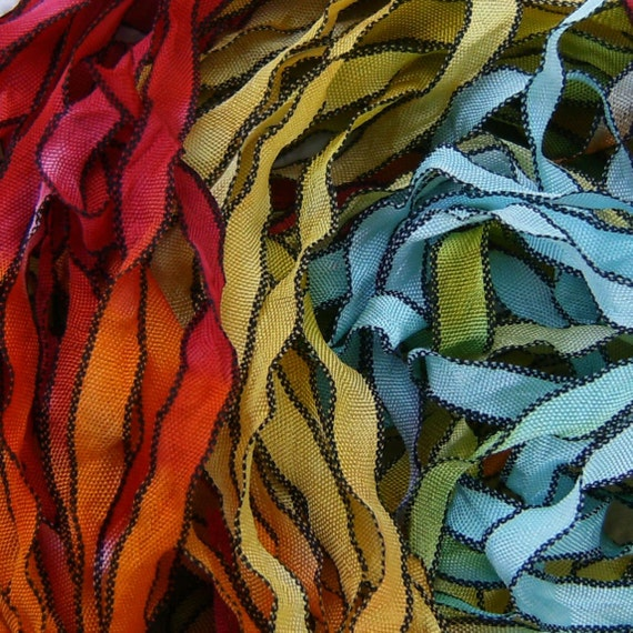Hand Dyed Ribbon RAINBOW 5  curly 5 YARDS