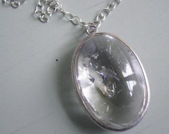 Quartz  pendant on sterling silver chain - Fortune Teller