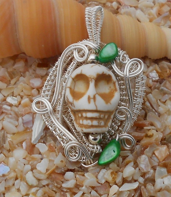 Gothic Hand Carved Skull White Turquoise & Silver Wire Wrapped Pendant Necklace