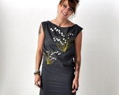 SALE Lily of the Valley, Botanical Design, Sheath Dress, Hand Screen Printed by Maryink