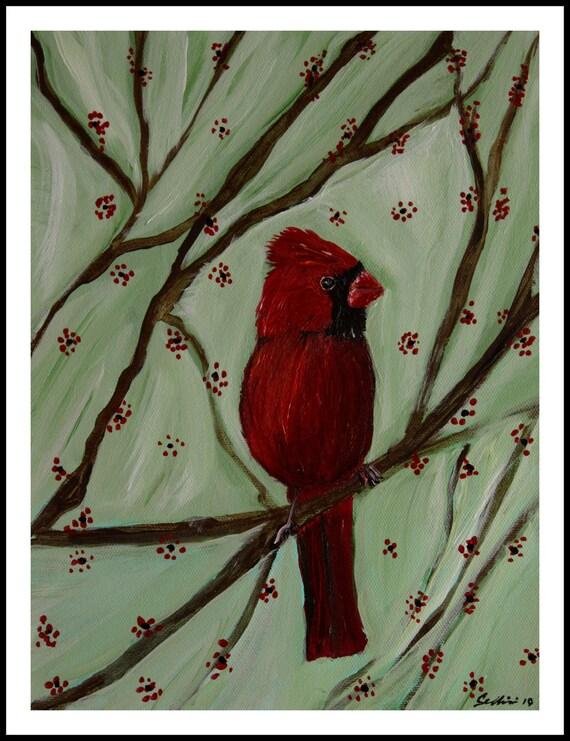 Baby Male Cardinal Bird Print Giclee 8 X10