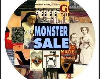 Monster Sale - 10 Sheet Bundle of  Digital Collage Sheets -  Best Deal