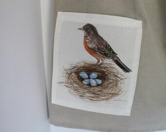 Kitchen apron  - Farmer's Market Apron - Linen bird nest