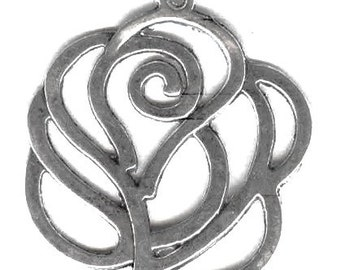 "Simple & Classy Cut Out Rose Pendant Silver 2"" - 50mm"