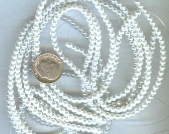 3mm Elegant Pure White Glass Pearls 50 pcs
