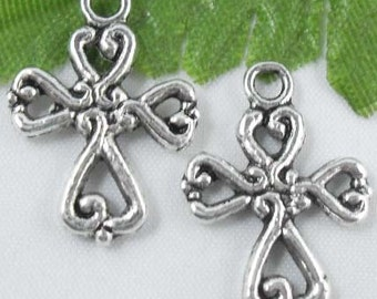 2 Tibetan Silver Small Cross Charms Pendants 20mm 6 pieces