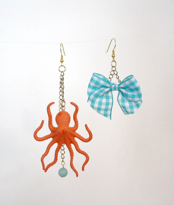 Octopus and Gingham blue bow mismatched earrings // blue, apricot, orange // drop, dangle earrings