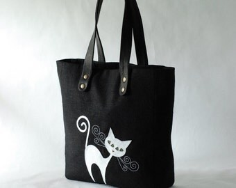 Black Linen Tote Bag - white cat applique - cat bag - leather handles