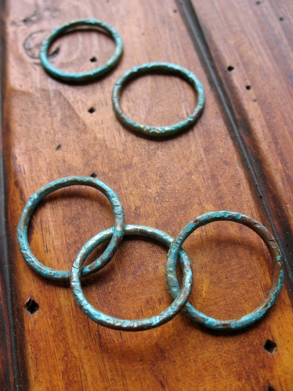 Earring and Necklace Link Set in Aqua Shimmer - Patina Copper Artisan Components