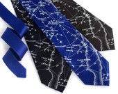 Galaxy necktie. Night sky constellation print tie. Men's celestial, star chart tie. Ice blue print. Your choice of tie colors.