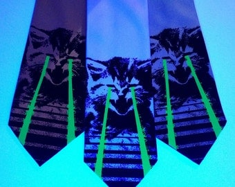Raving Laser Cat SILK tie. Cat lovers - green glowing space lasers. Blacklight reactive screen-printed necktie. Two color print.