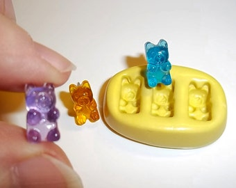 Mini Gummy Bears Flexible Push Mold Mould For Resin Sculpey Clay Wax Chocolate (E282)