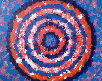 Blue and Orange Wall Art Concentric Circles Abstract Painting ORIGINAL Acrylic Modern Contemporary Large Target Art Decor