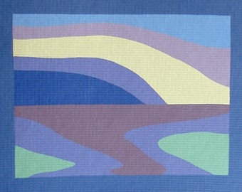 Abstract Landscape Artwork Acrylic Horizon Painting ORIGINAL Blue and Purple Modern Wall Art