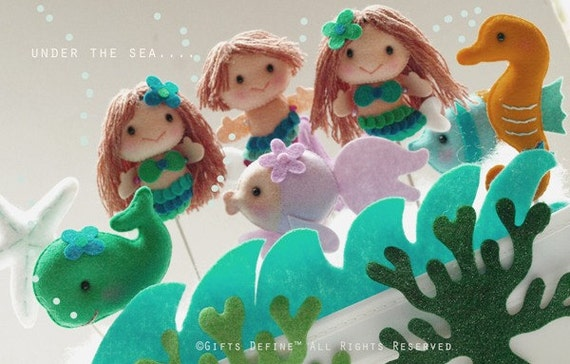 Reserved for Taryn 1 Mermaid and 3 Sea Friends Party Topper - Reusable Multi Purpose Cake Topper, Birthday Decor, Baby Shower Favors