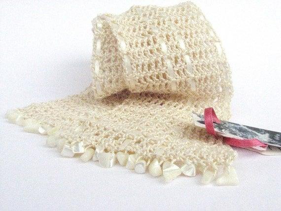 SALE Short crochet scarf, beaded cream silk lattice, wedding accessory, spring summer fashion