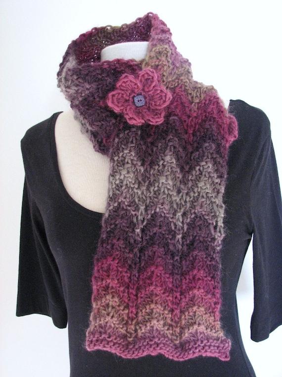 Lace Zig Zag Scarf Knitting Pattern : Chunky knit scarf pattern pdf zig zag bulky wave easy one