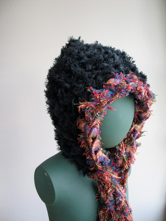 Sustainable Hat with Attached Scarf in Fuzzy Rainbow OOAK