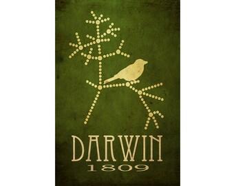 Darwin Science Art Print 12x18 Evolution Poster, Tree Of Life, Steampunk Rock Star Scientist Poster, Office Decor Black Friday Cyber Monday