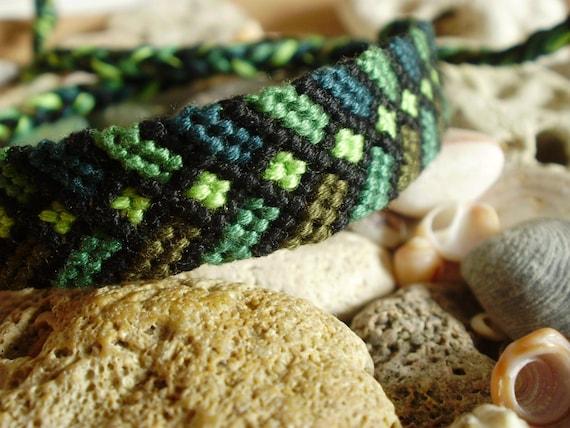 Male or Unisex friendship bracelet in greens and black, man, men's