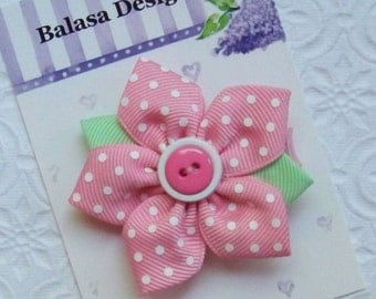 Boutique Pink Swiss Dot Star Flower Hair Clip Bow