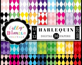 50% off Harlequin Diamond digital Papers for scrapbooking, cards, crafts 36 papers