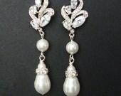Vintage Bridal Earrings, Silver Filigree Leaf Wedding Earrings, Pearl Drop Wedding Jewelry, Art Deco Bridal Jewelry,  JORDANA