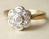 Vintage .25 Carat Diamond Daisy Flower Ring, 9k Gold Diamond Flower Engagement Wedding Ring Approximate Size US 5 / 5.25
