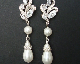 Vintage Bridal Earrings, Silver Filigree Leaf Wedding Earrings, Pearl Drop Wedding Jewelry, Art Deco Bridal Jewelry,  JORDANA