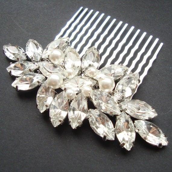 Wedding Hair Comb, Rhinestone and Pearl Bridal Hair Comb, White Ivory Pearl Bridal Wedding Hair Accessory, Vintage Glamour, CLAUDIA