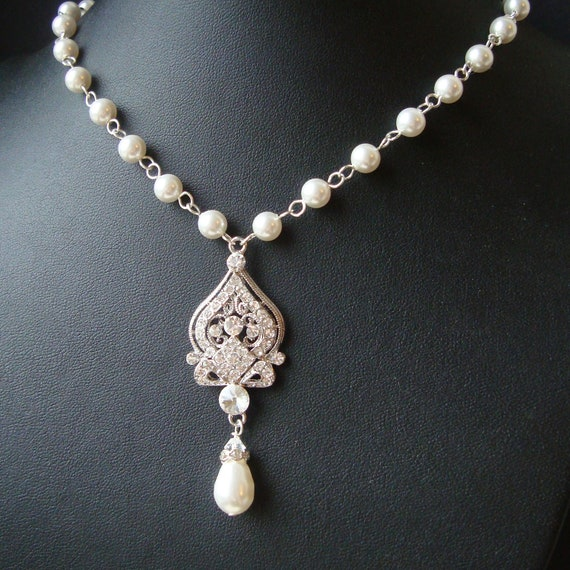 Indiangoldesigns Com Beautiful Antique Bridal Necklace: Art Deco Bridal Necklace Wedding Necklace Pearl Necklace