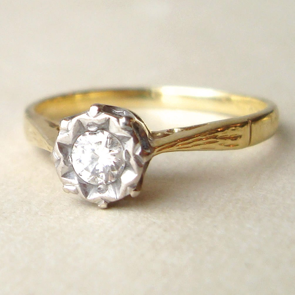 Vintage Engagement Ring 1950s Solitaire 15 Carat Diamond