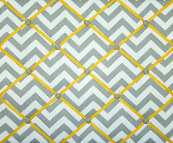 Gray White Yellow Chevron Zig Zag French Ribbon Memo Board